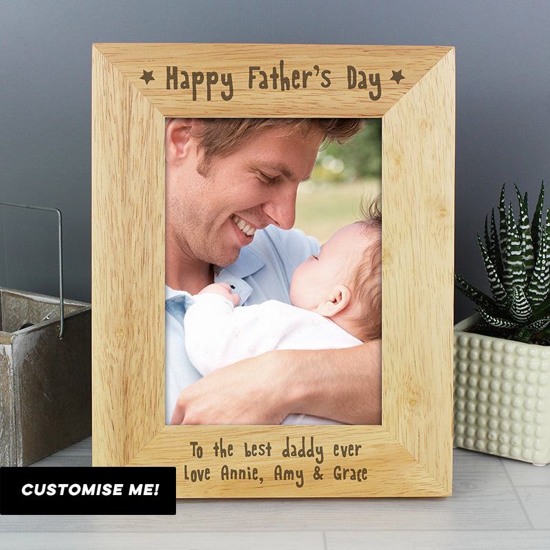 Personalised Happy Father's Day 5x7 Wooden Photo Frame (MRK-iD)