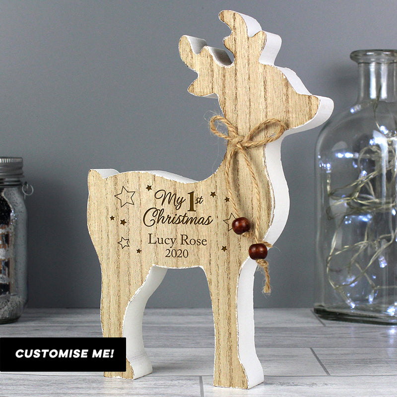 Personalised '1st Christmas' Rustic Wooden Reindeer Decoration (MRK-iD)