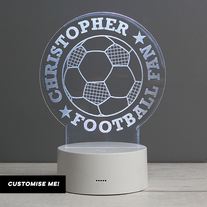 Personalised Football LED Colour Changing Desk Night Light (MRK-iD)
