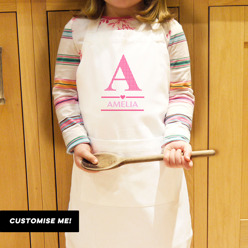 Personalised Girls Initial Children's Apron (MRK-iD)