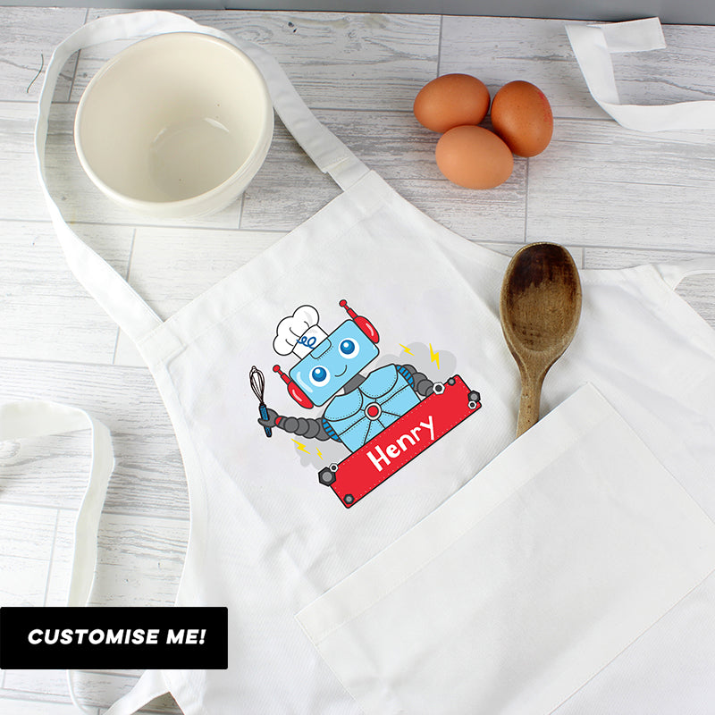 Personalised Robot Children's Apron (MRK-iD)