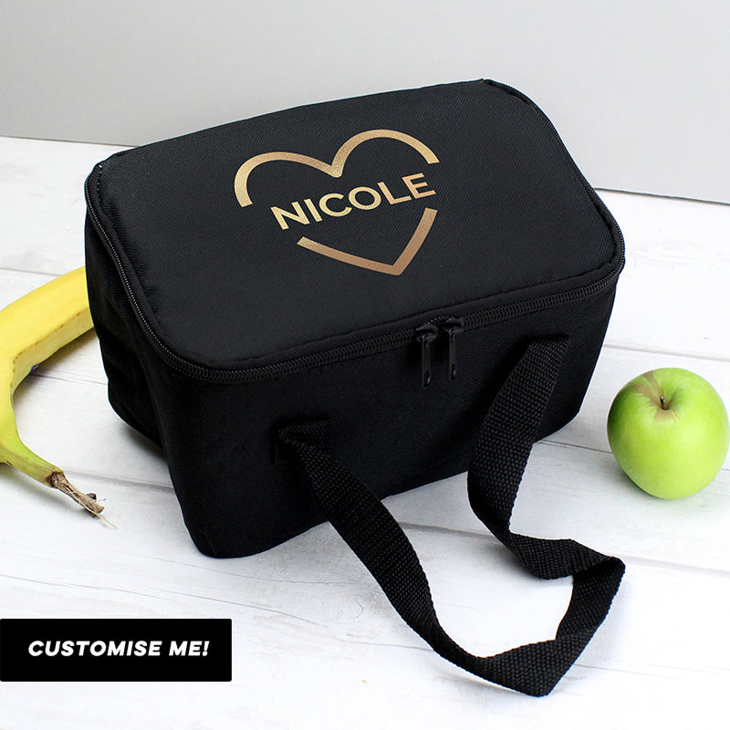 Personalised Gold Heart Black Lunch Bag (MRK X)