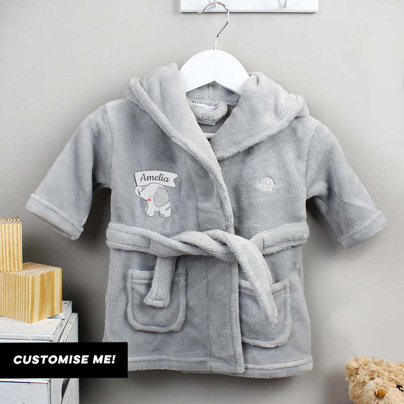 Personalised Elephant 0-6 Months Grey Hooded Baby Dressing Gown (MRK-iD)