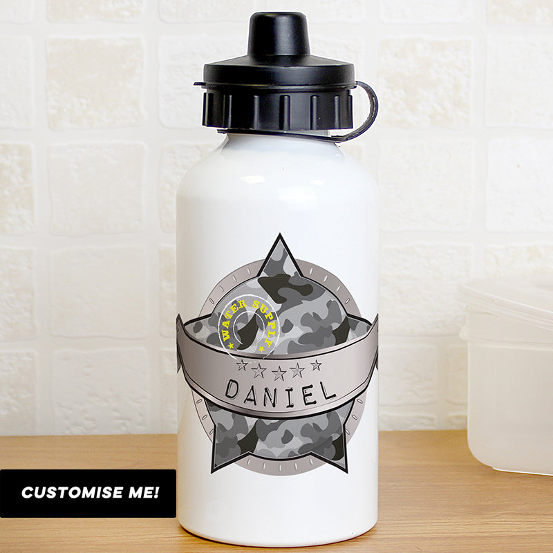 Personalised Army Camo Drinks Bottle (MRK-iD)