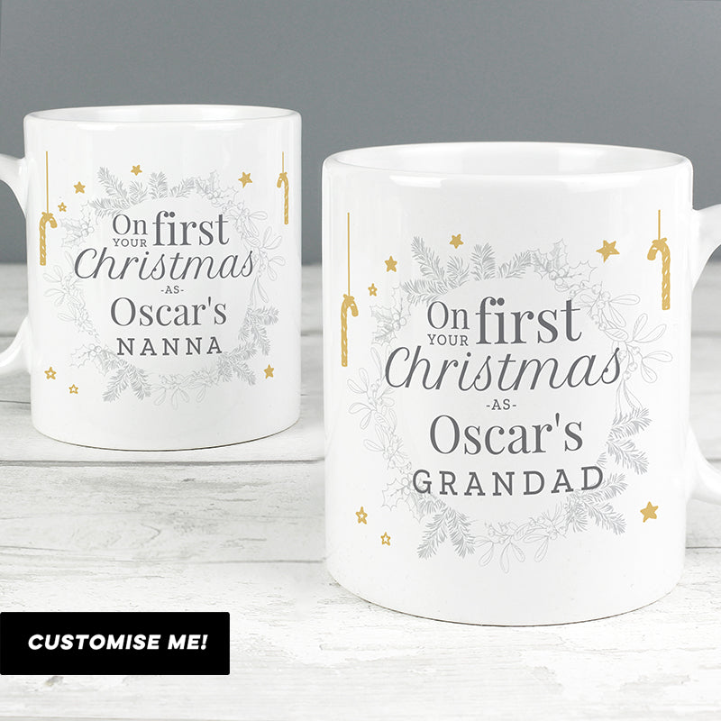 Personalised 'On Your First Christmas As' Mug Set (MRK-iD)