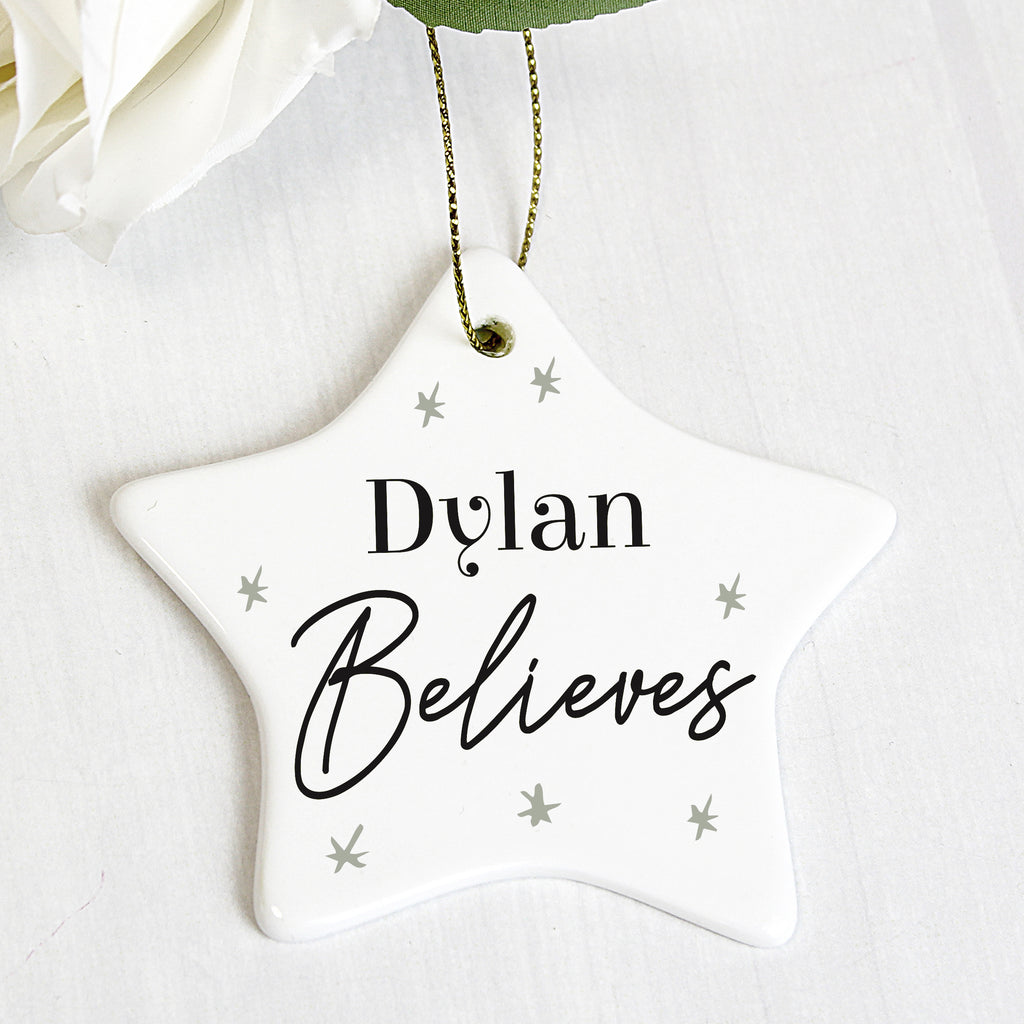 Personalised Believes Ceramic Star Decoration (MRK X)