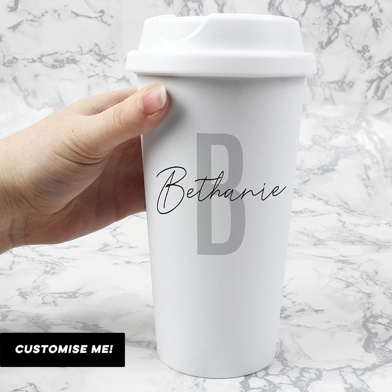 Personalised Initial & Name Double Walled Travel Mug (MRK-iD)