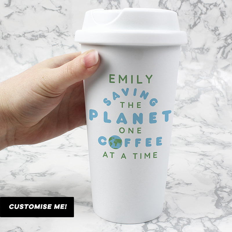 Personalised 'Saving the Planet' Double Walled Travel Mug (MRK-iD)