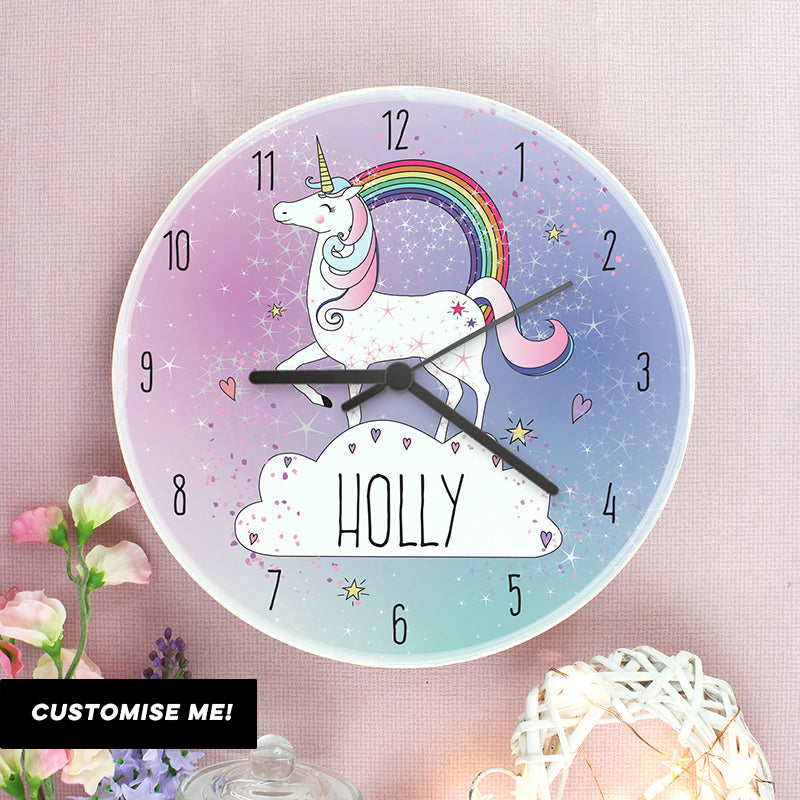 Personalised Unicorn Wooden Clock (MRK-iD)