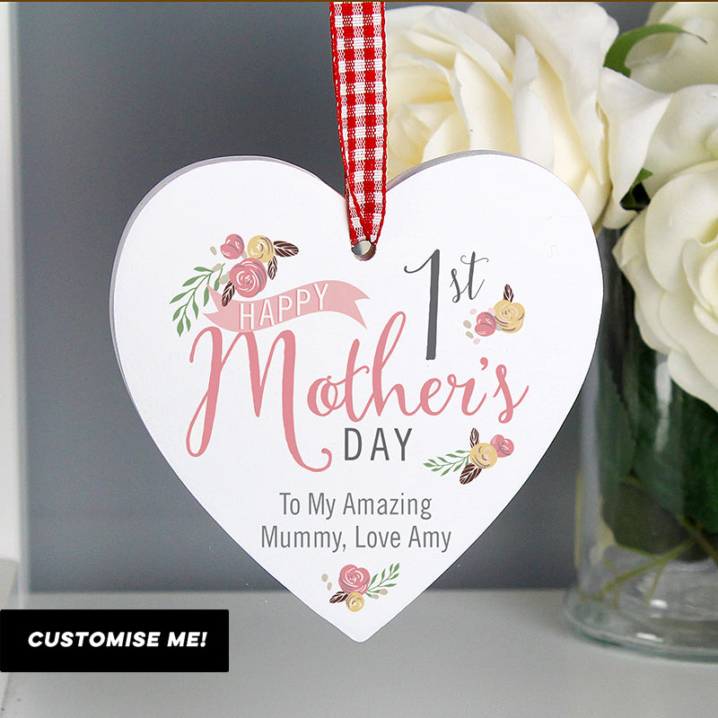 Personalised Floral Bouquet 1st Mothers Day Wooden Heart Decoration (MRK-iD)