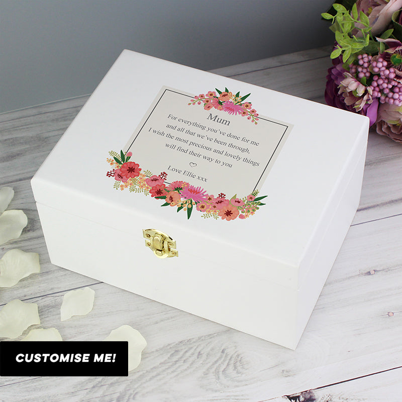 Personalised Floral Wishes White Wooden Keepsake Box (MRK-iD)