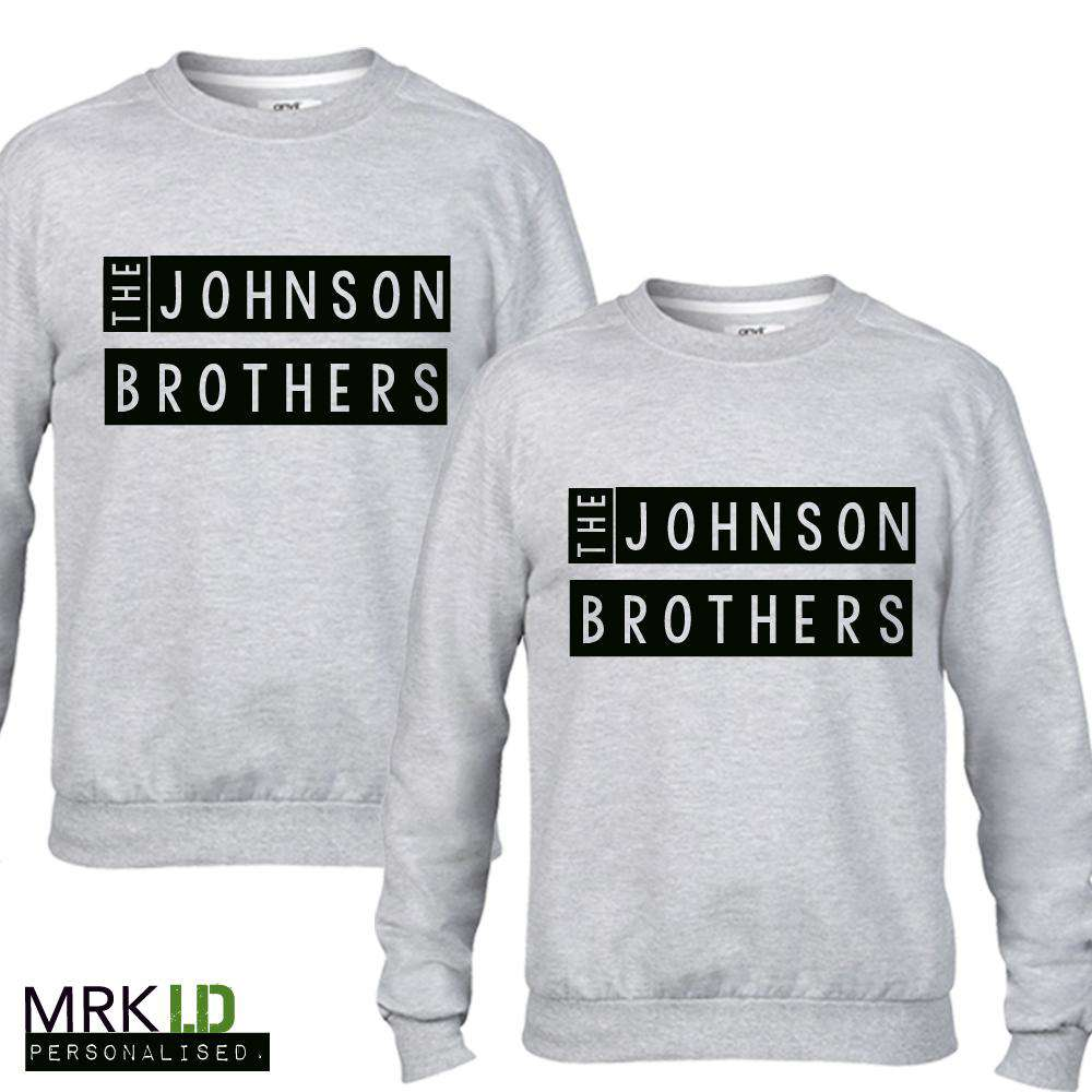 Personalised Brothers Stamp Grey Sweaters (MRK X)