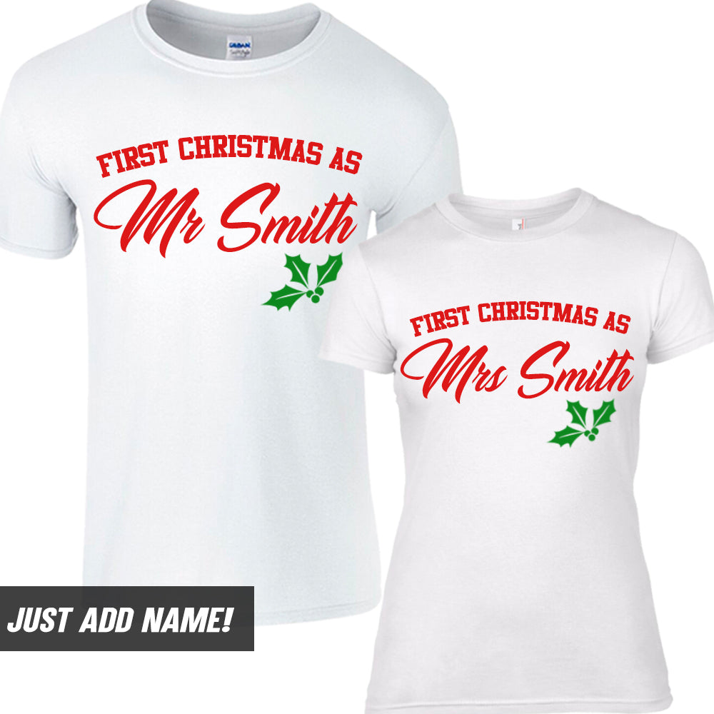 Personalised Mr & Mrs First Christmas T-Shirts (MRK X)