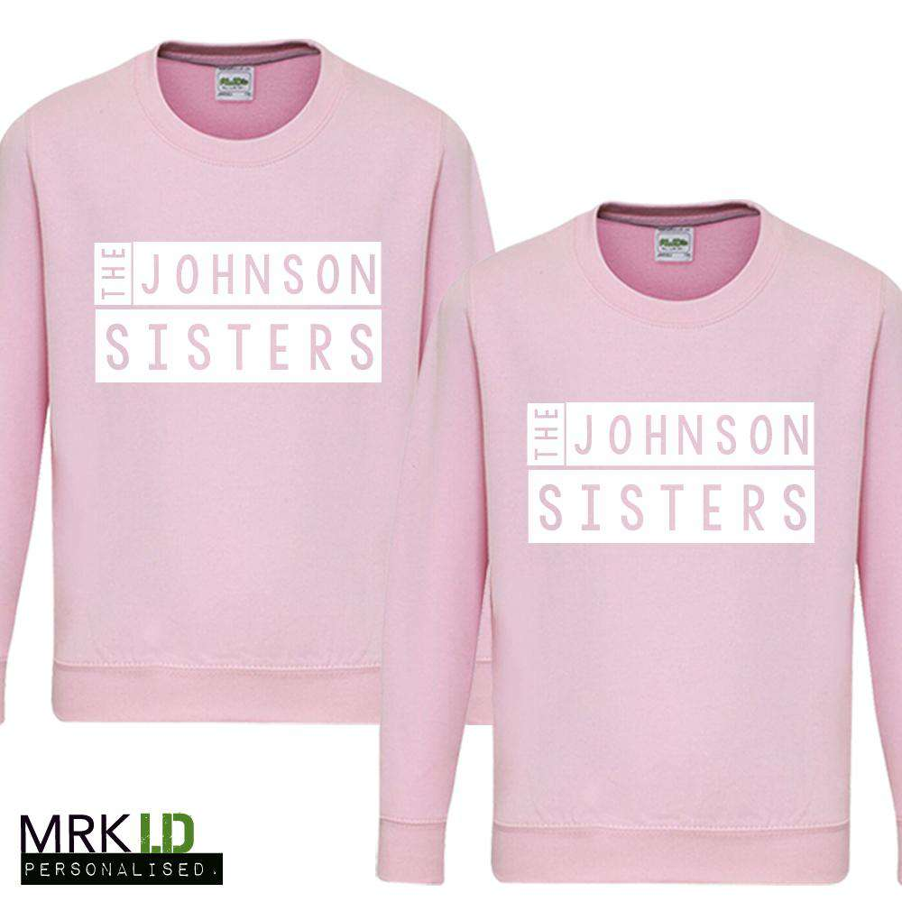 Personalised Sisters Stamp Pink Sweaters (MRK X)