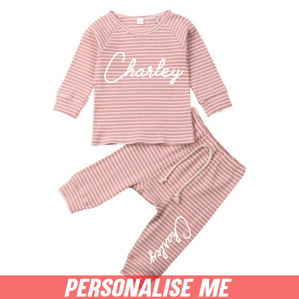 Personalised Oxford Knit Striped Tracksuit (0-24 Months) (MRK X)