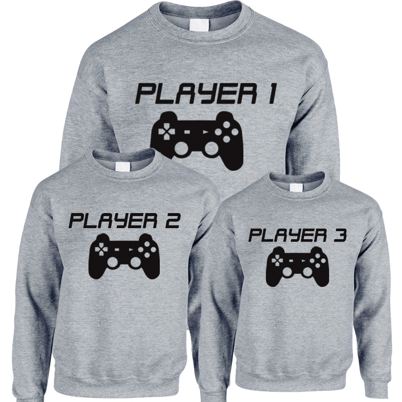 Player 1/2/3 Adult & Kid Heather Grey Sweatshirts (MRK X)