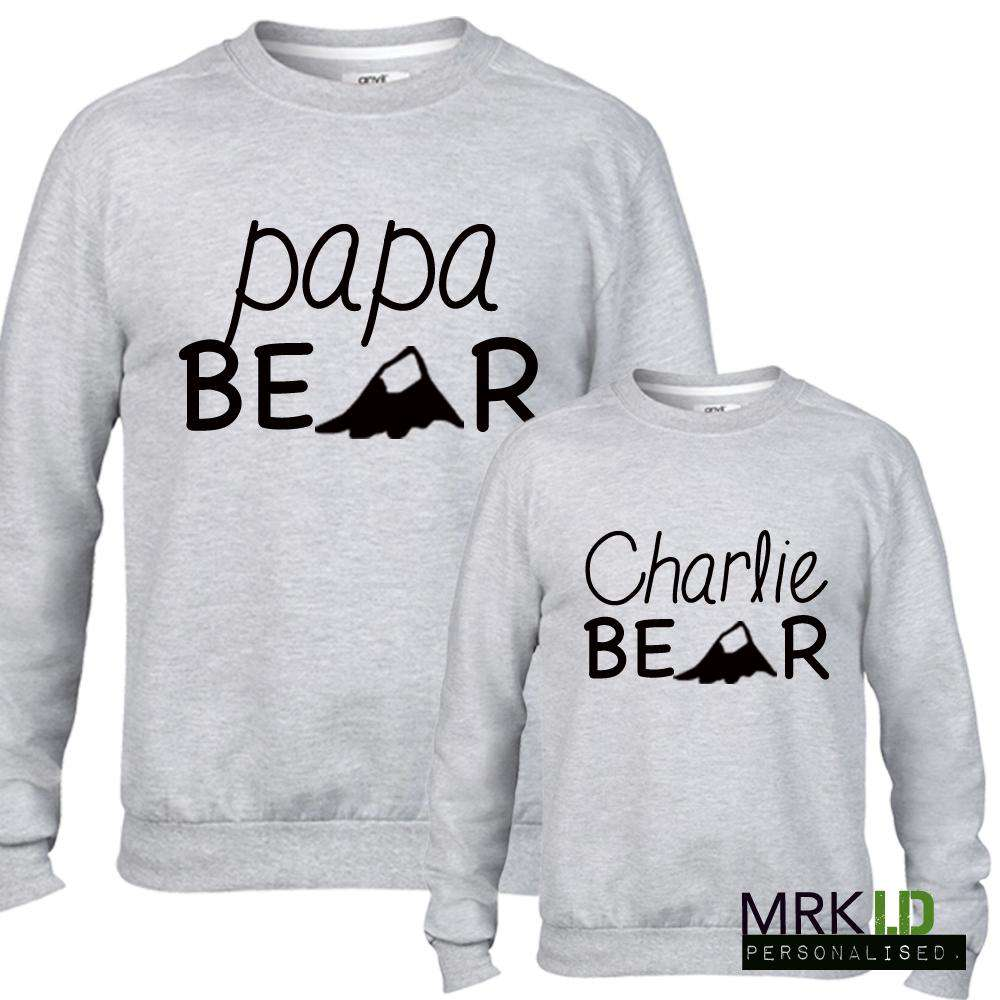 Personalised Papa Bear Matching Light Grey Sweaters (MRK X)