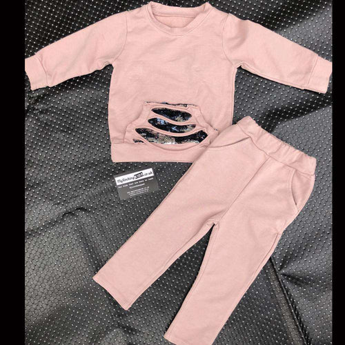 Pink Pastel Sequin Tracksuit Set (1-12 Years) (MRK X)