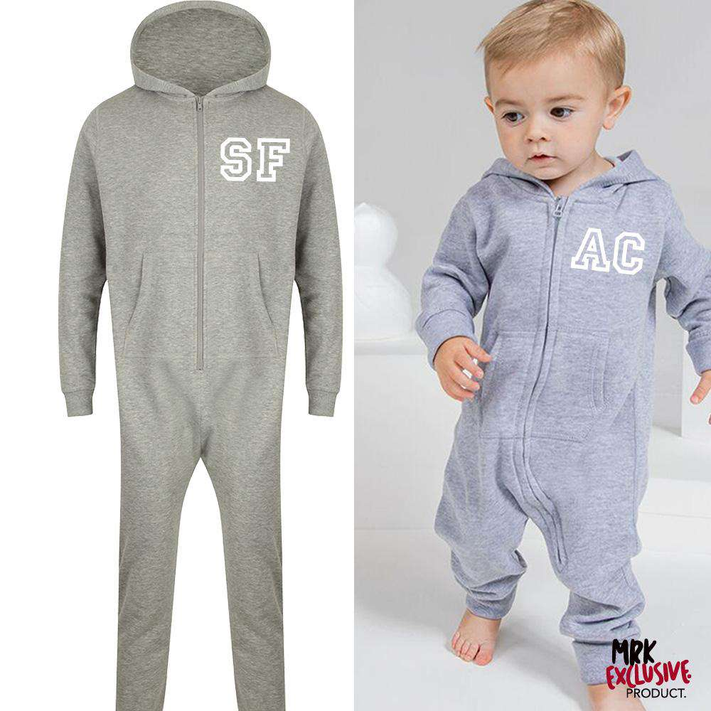 Personalised Adult & Kid Matching Initial Hooded Onesies (MRK X)
