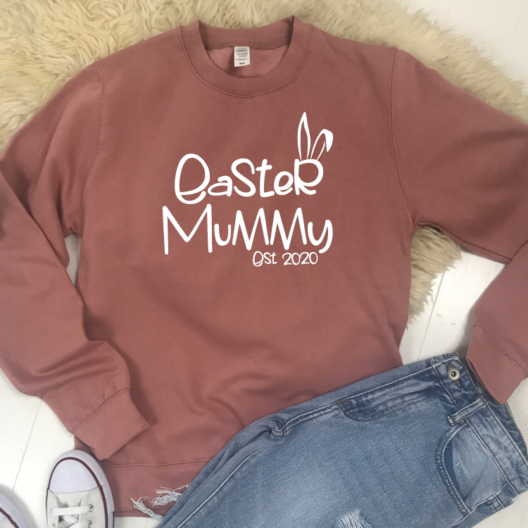 Personalised Easter Mummy Est Crew Sweat (MRK X)