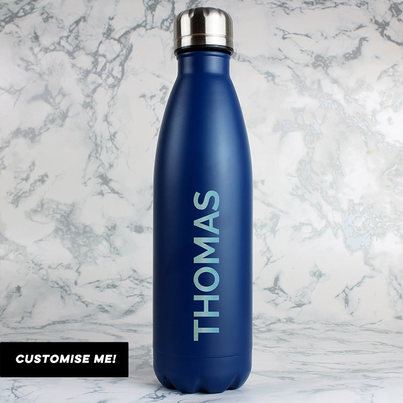 Personalised Bold Name Blue Metal Insulated Drinks Bottle (MRK-iD)