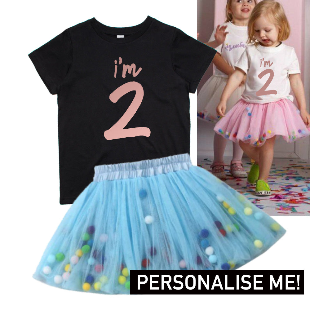 Personalised Birthday Year Black Tee & Tutu Dress Set (MRK X)