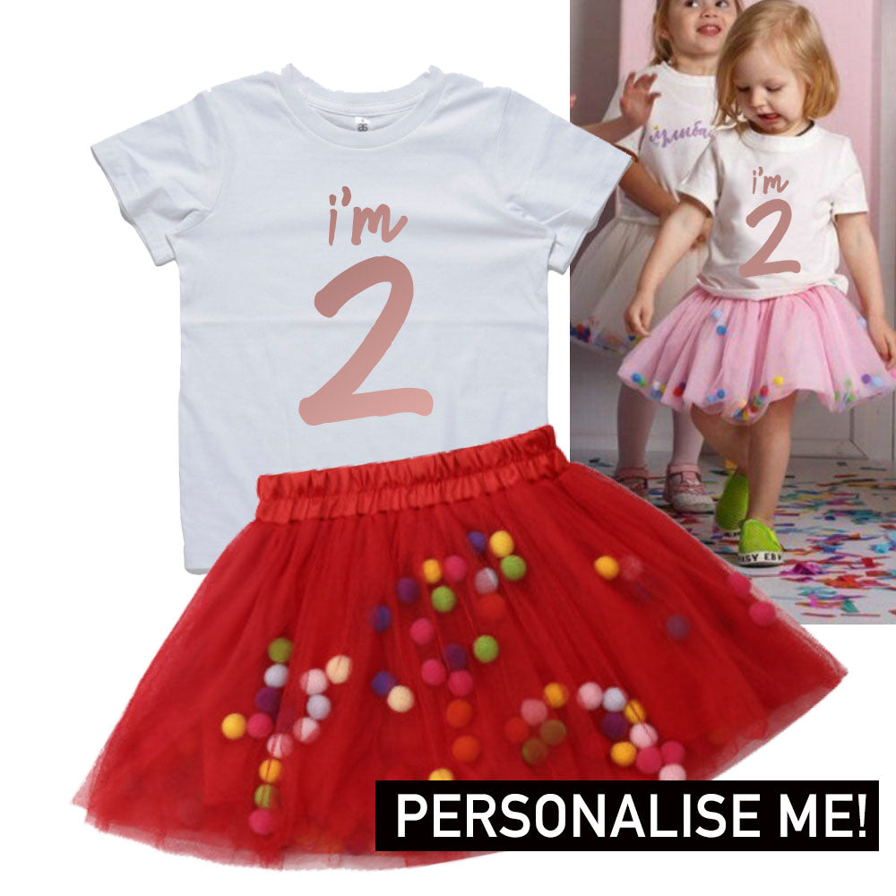 Personalised Birthday Year Tee & Tutu Dress Set (MRK X)