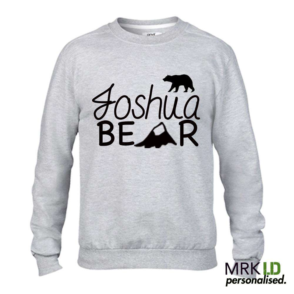 Personalised Name Bear Light Grey Sweater (MRK X)