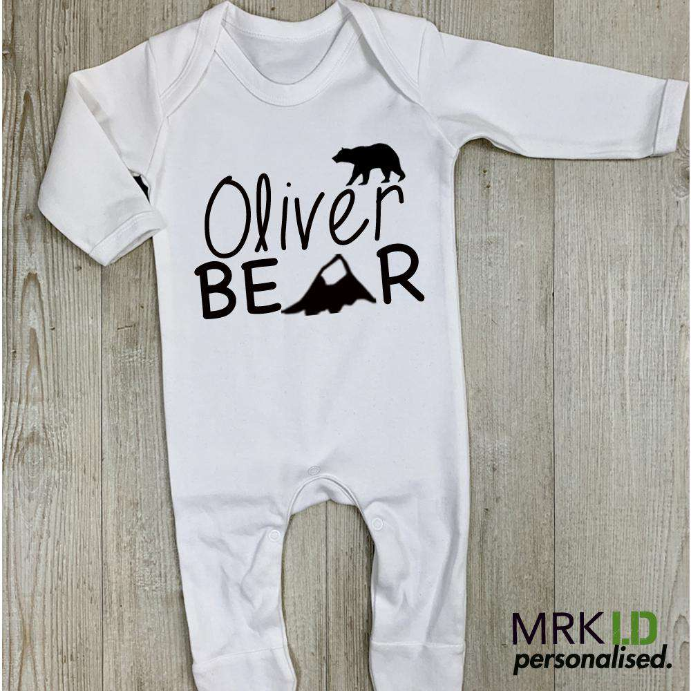 Personalised Name Bear White Romeprsuit (MRK X)