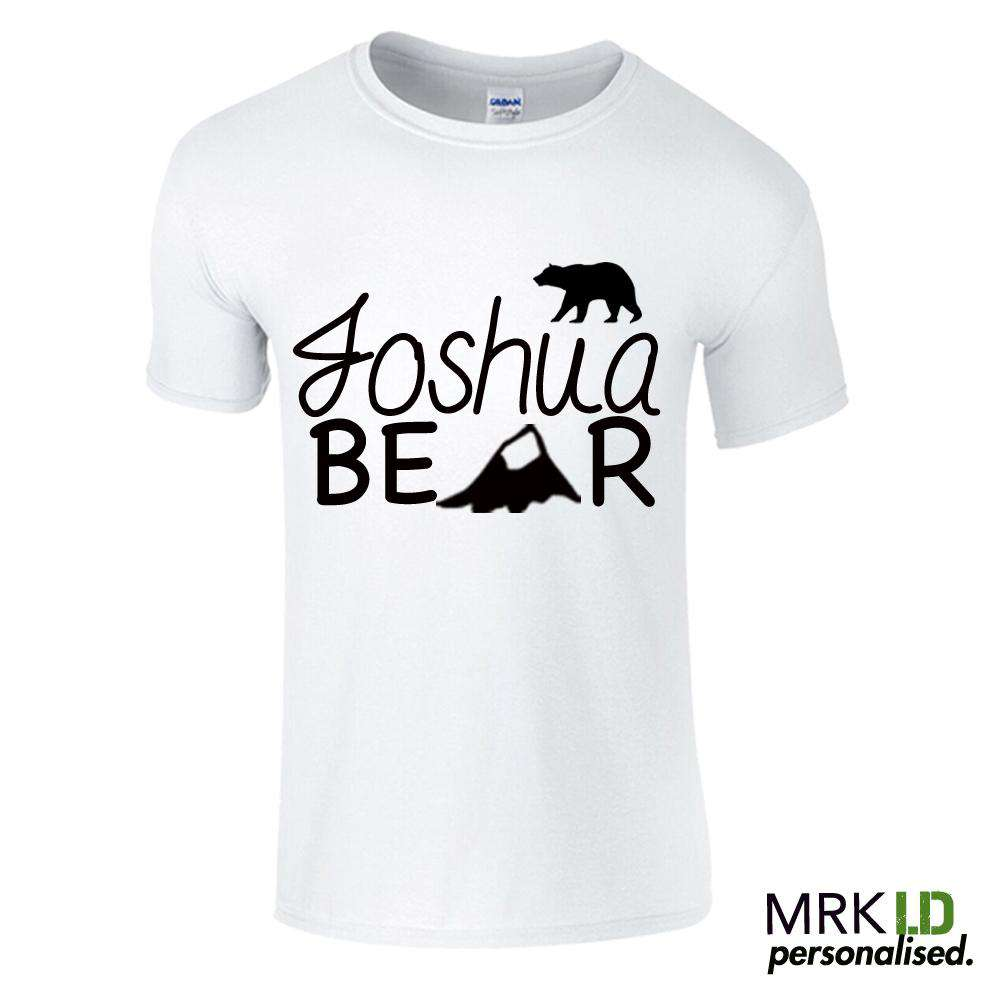 Personalised Name Bear White Tee (MRK X)