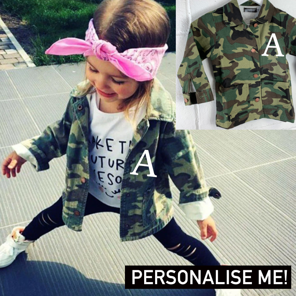 Personalised Camo Crew Back Patch Button-Down (1-7 Years) (MRK X)