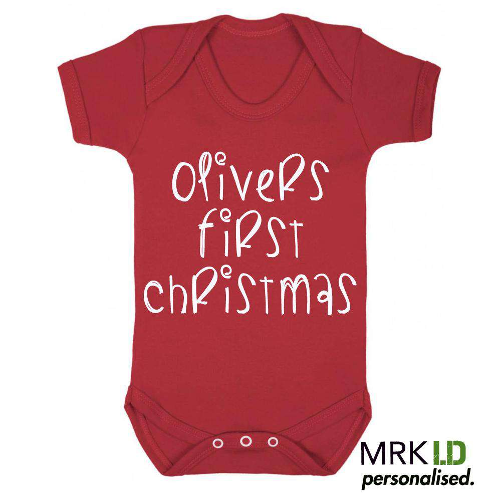 Personalised My First Christmas Red Bodysuit (MRK X)