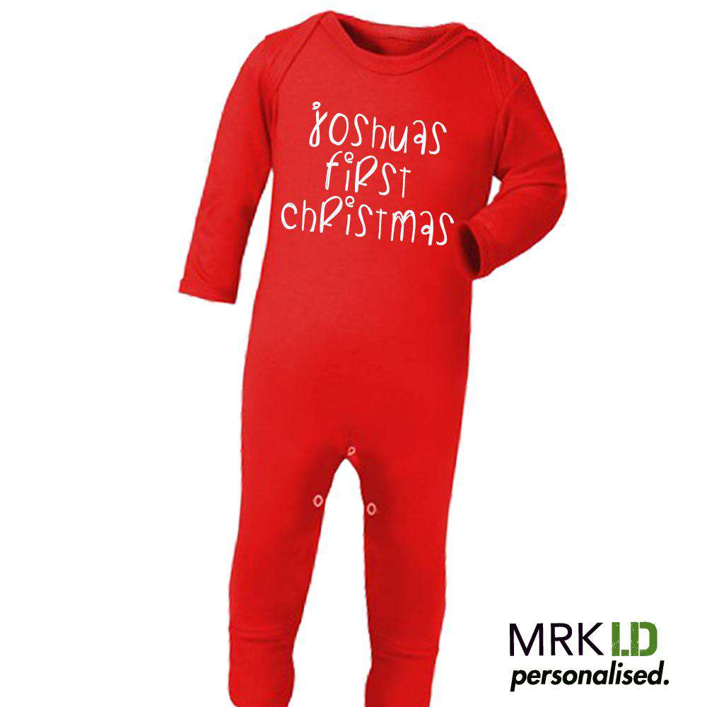 Personalised My First Christmas Red Long Rompersuit (MRK X)