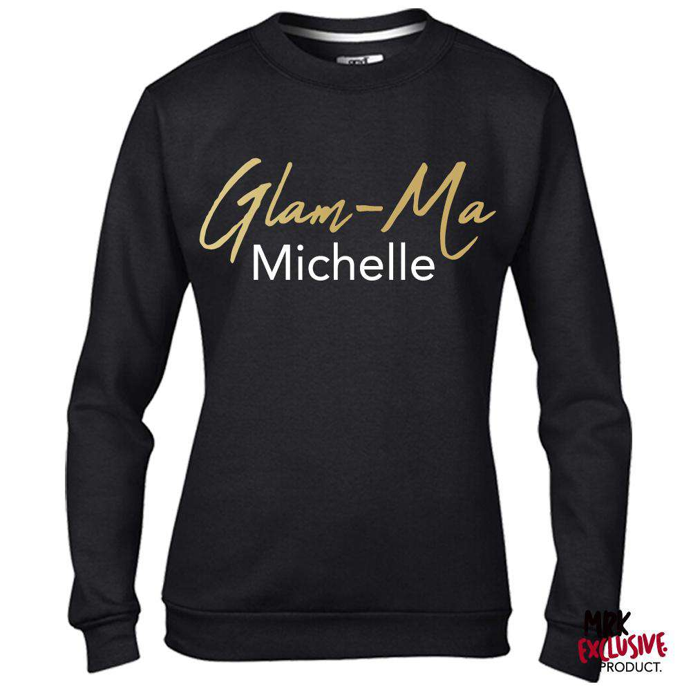 Personalised Glam-Ma Grandma Black/Gold Sweater (MRK X)