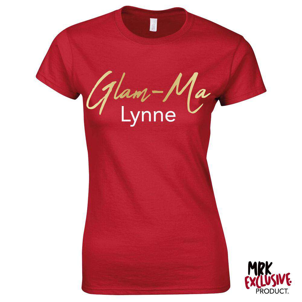 Personalised Glam-Ma Grandma Red/Gold Tee (MRK X)