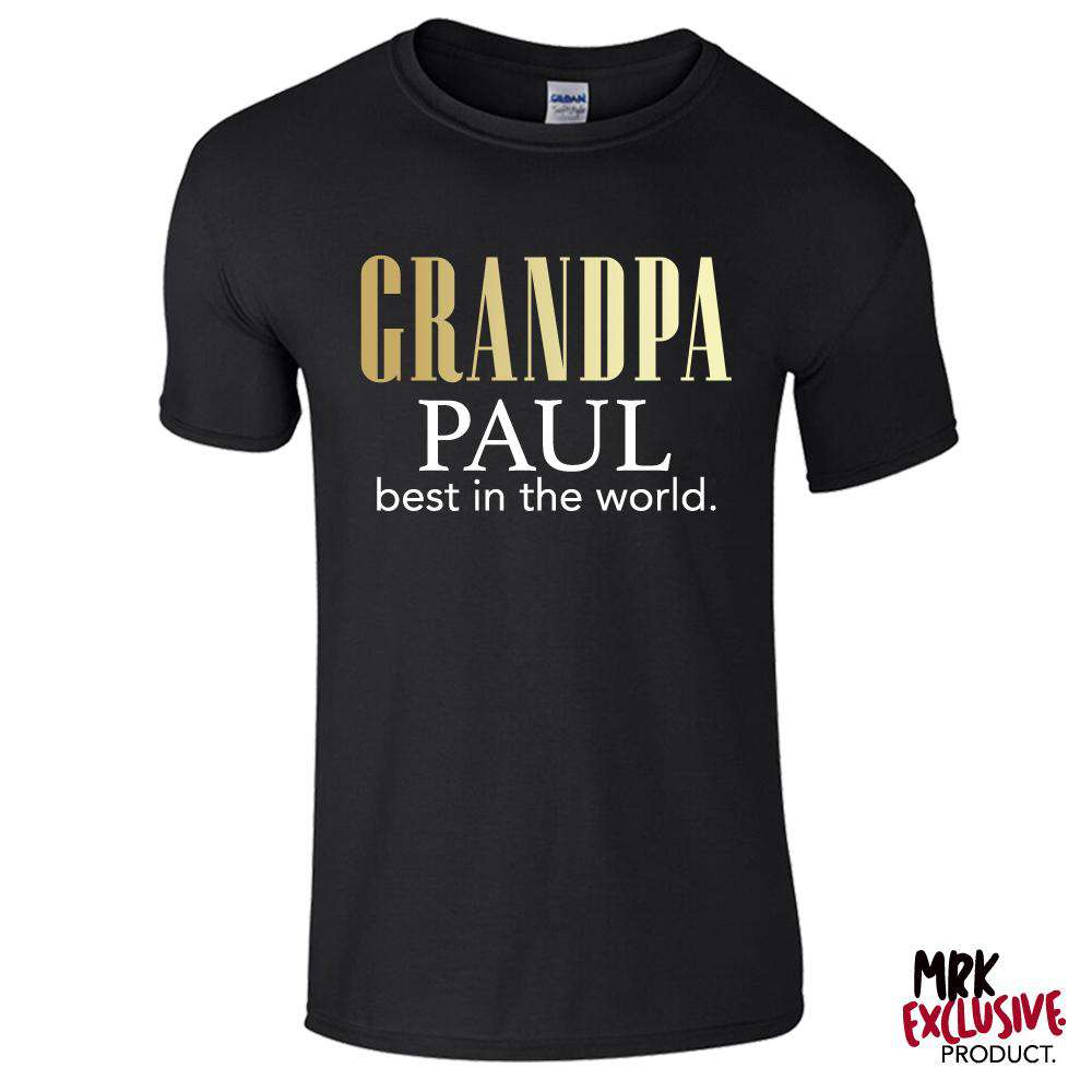 Personalised Grandpa Best In The World Black Tee (MRK X)