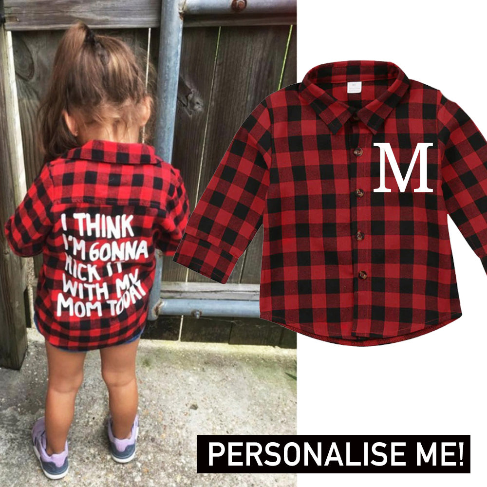 Personalised Kick It Plaid Button-Down (1-7 Years) (MRK X)