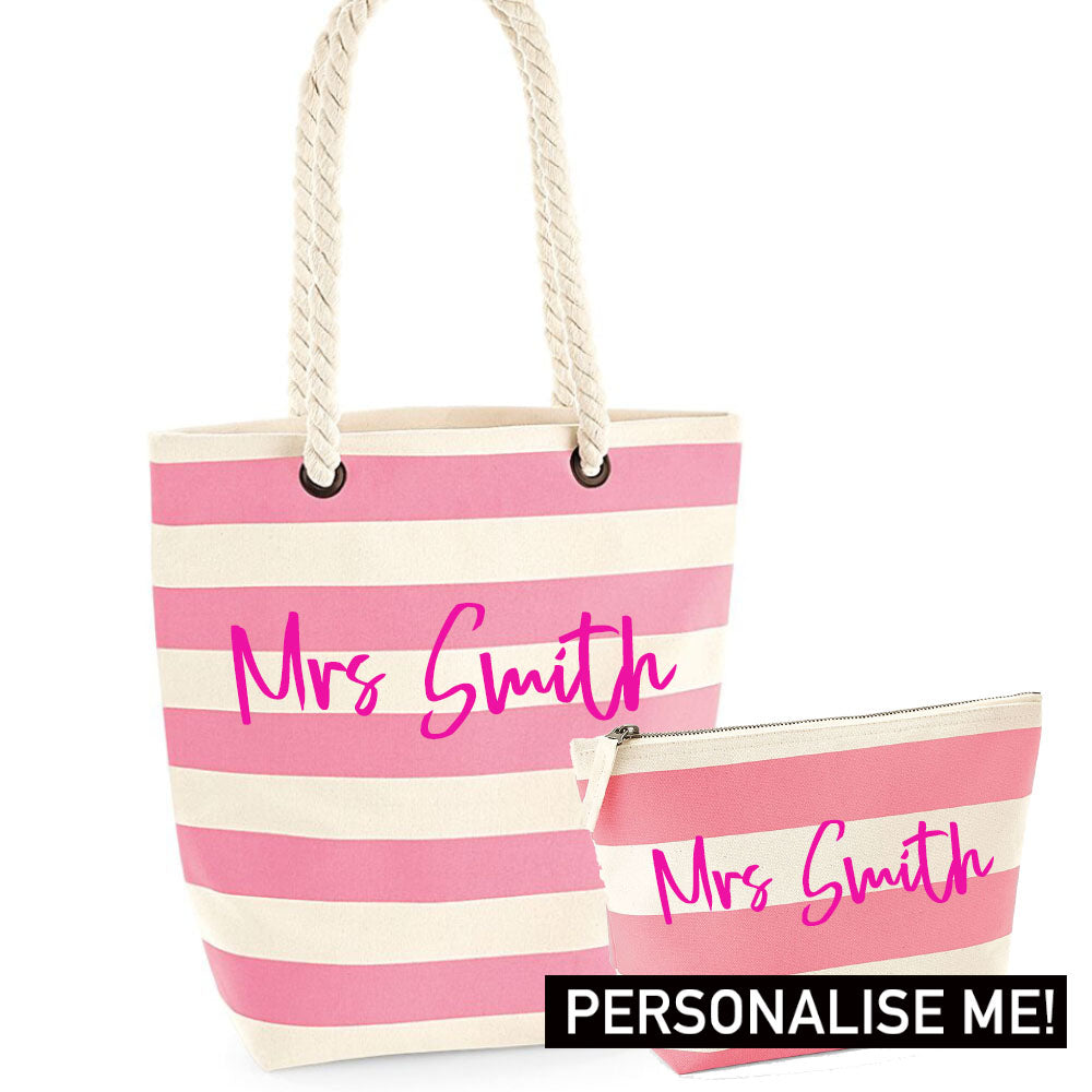 Personalised Mrs Nautical Tote & Accessory Bag Set (MRK X)