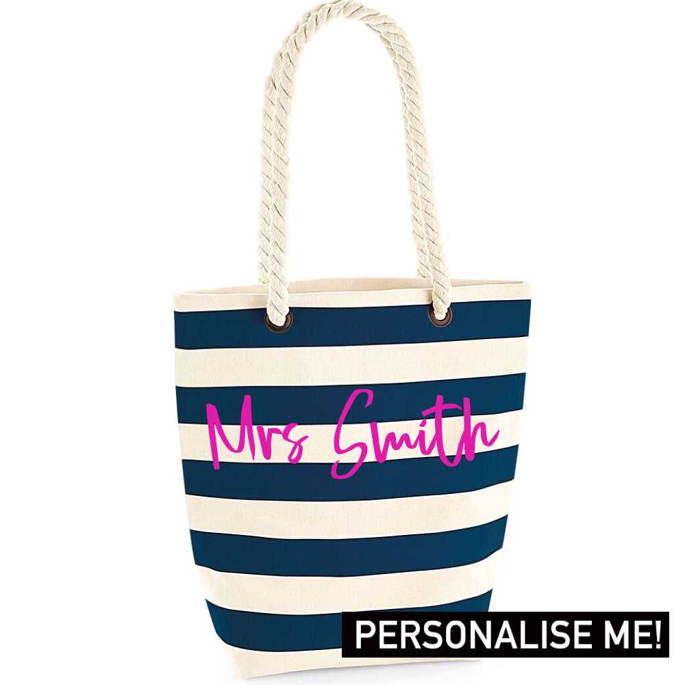 Personalised Mrs Nautical Tote Bag (MRK X)