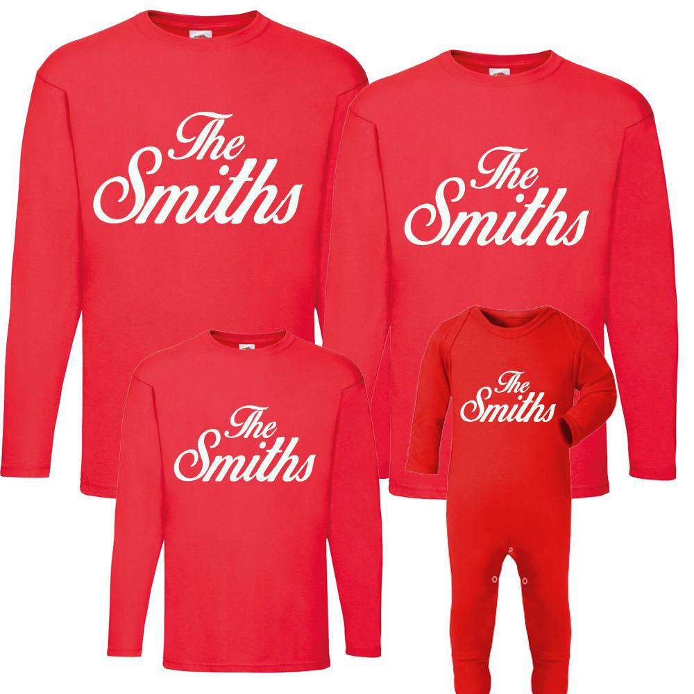 Personalised Family Name Matching Long-Sleeved Red Top/Rompersuit (MRK X)