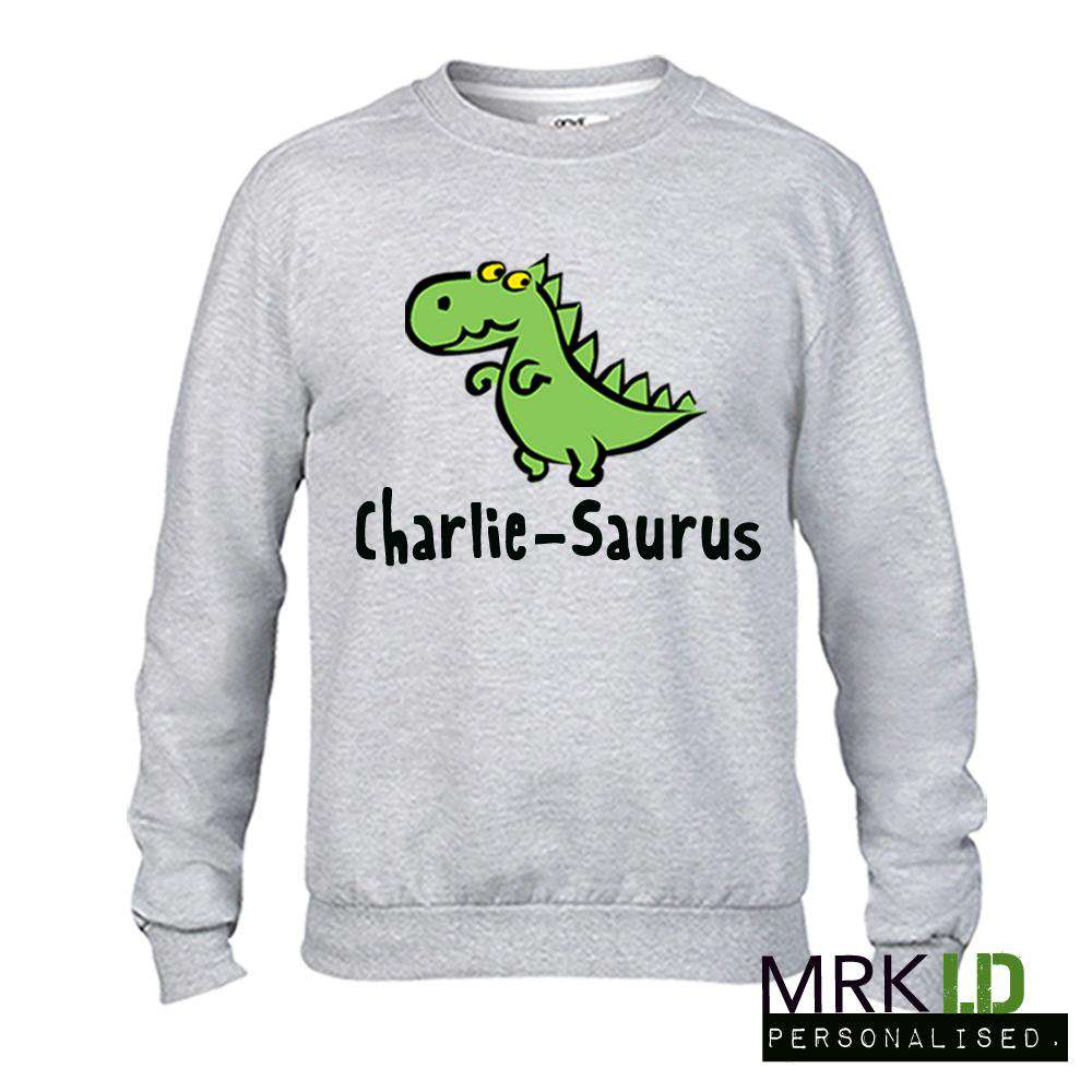 Personalised Dino Light Grey Sweater (MRK X)