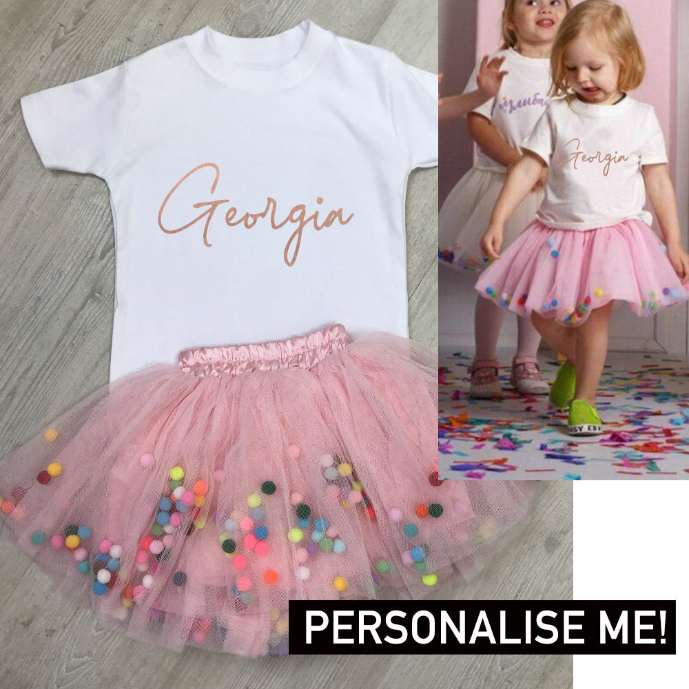 Personalised Tee & Pom Tutu Dress Set (MRK X)