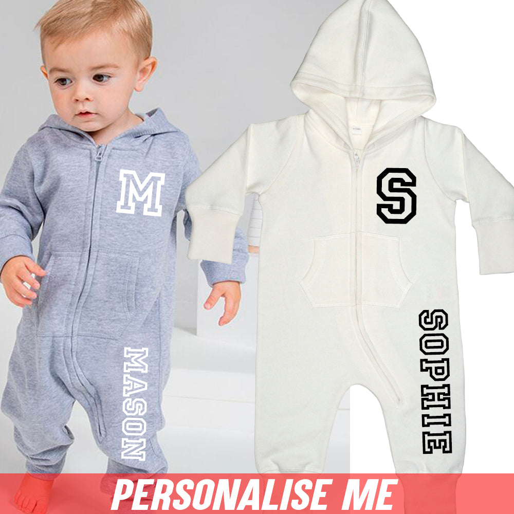 Personalised Initial & Name Hooded Onesie (MRK X)