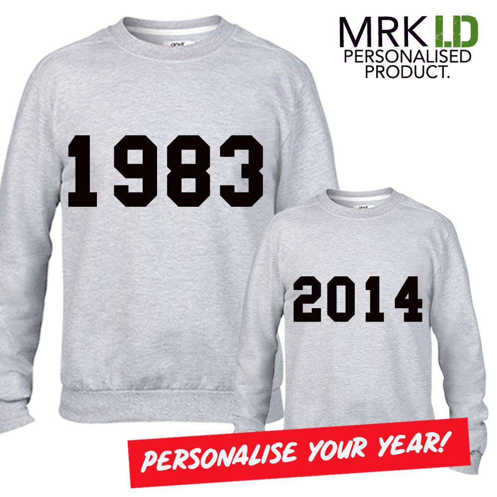 Personalised Year Mum & Kid Matching Grey Sweaters (MRK X)