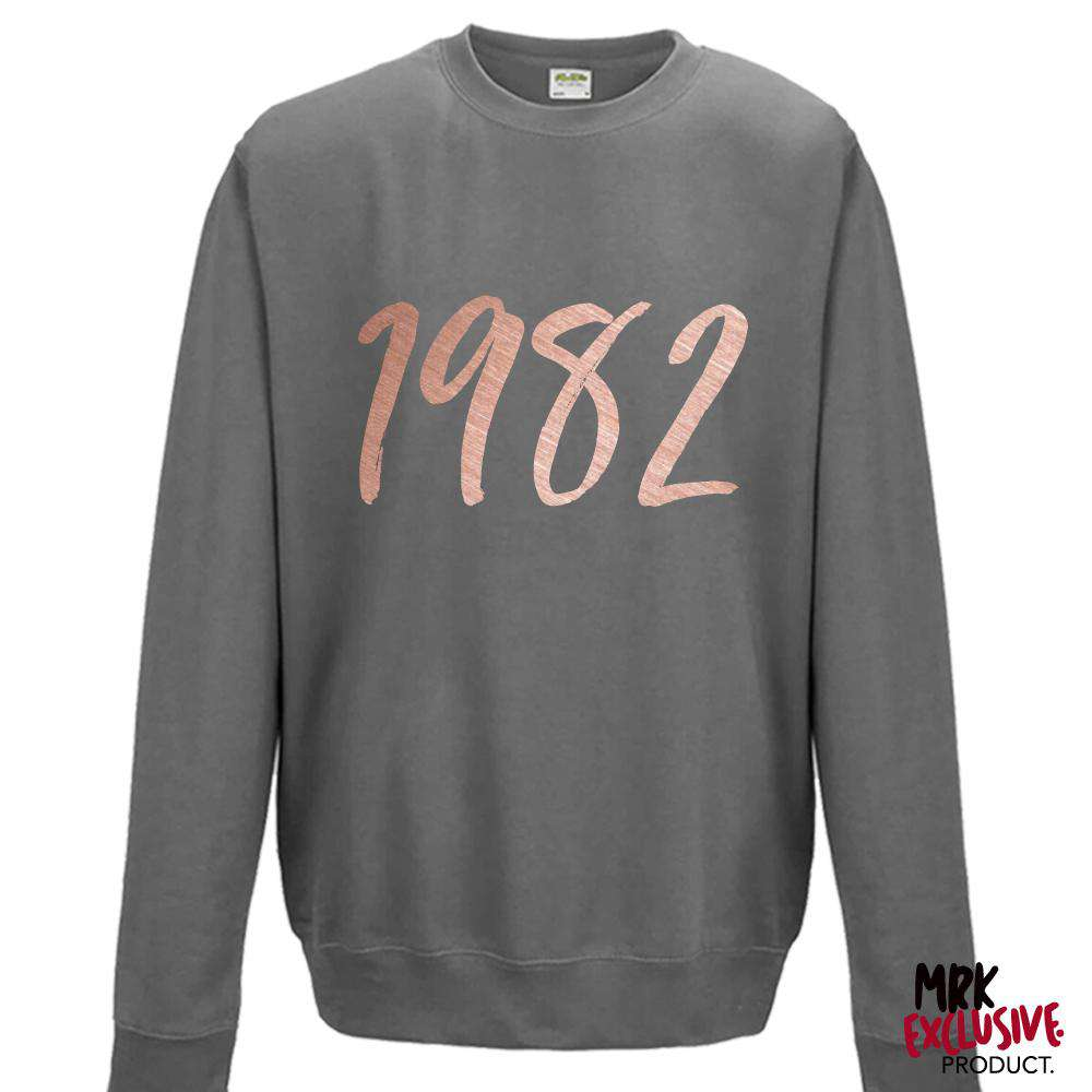 Personalised Script Year Womens Steel Grey Sweater (MRK X)