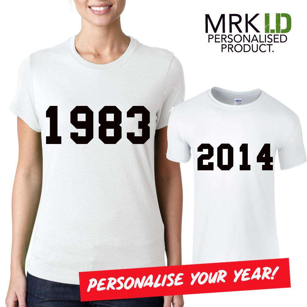 Personalised Year Mum & Kid Matching White Tees (MRK X)