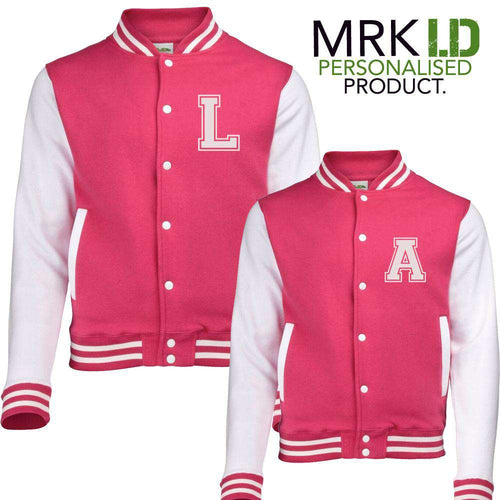 Personalised Initial Adult/Kid Matching Baseball Hot Pink Jackets (MRK X)