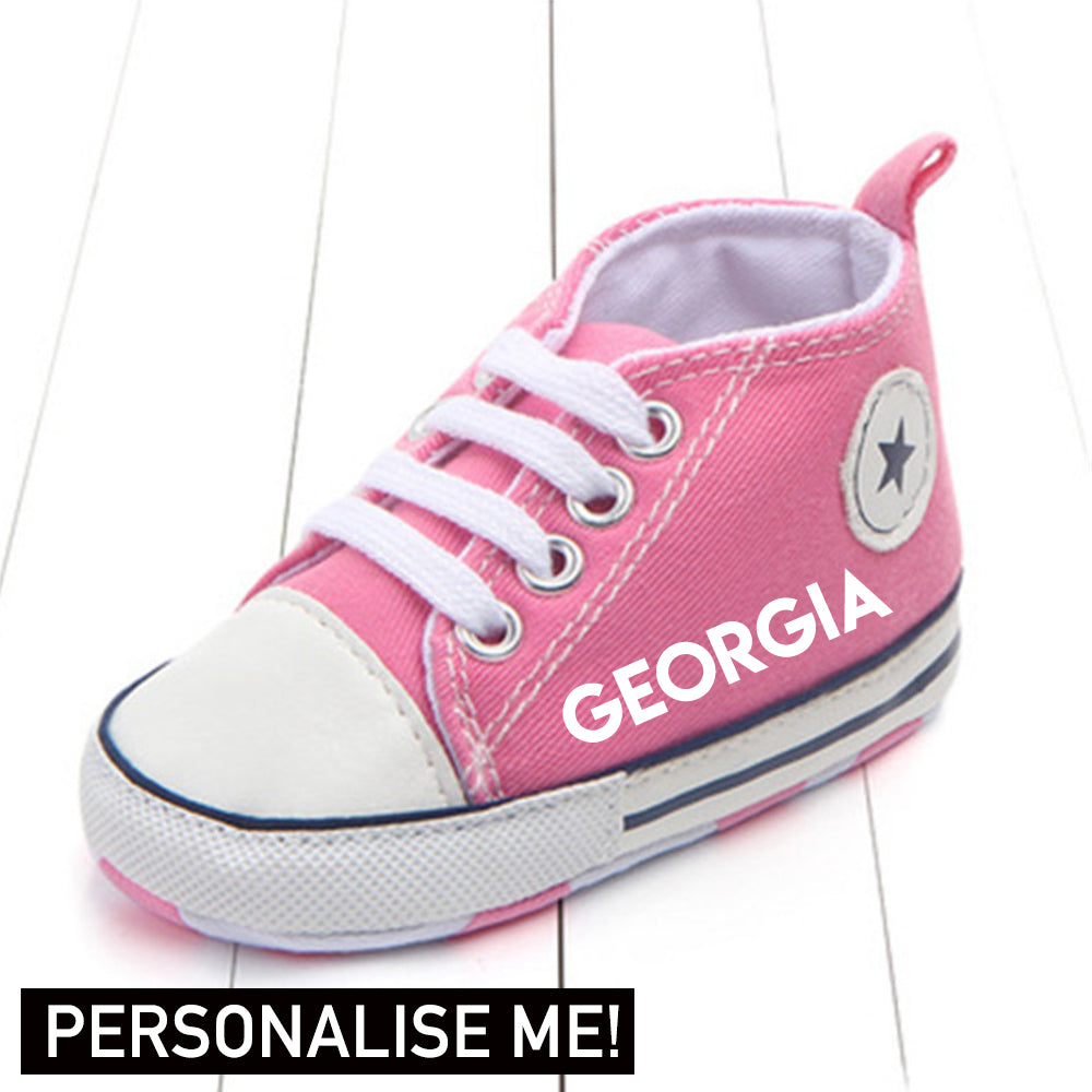 Personalised Portland Star Canvas Infant Prewalker Trainers (0-18 Months) (MRK X)