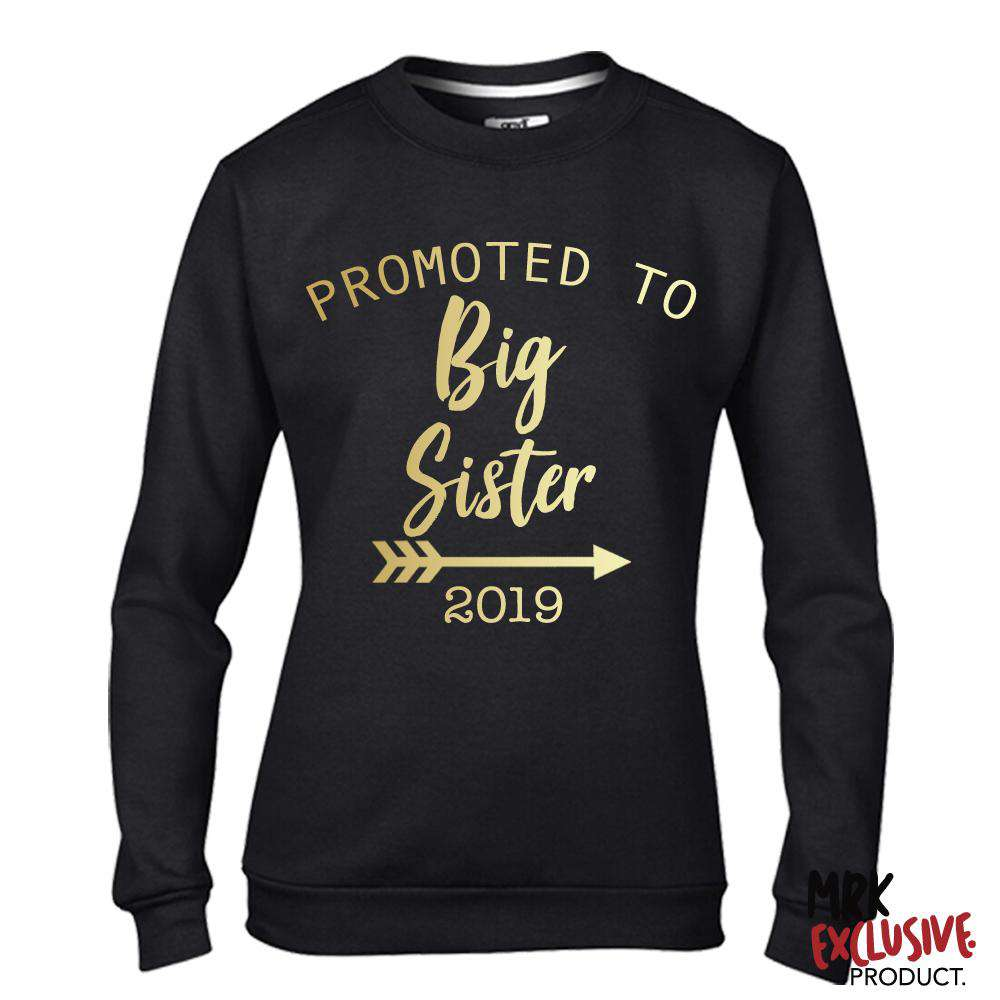 Promoted to Big Sister 2019 Black/Gold Sweater (MRK X)