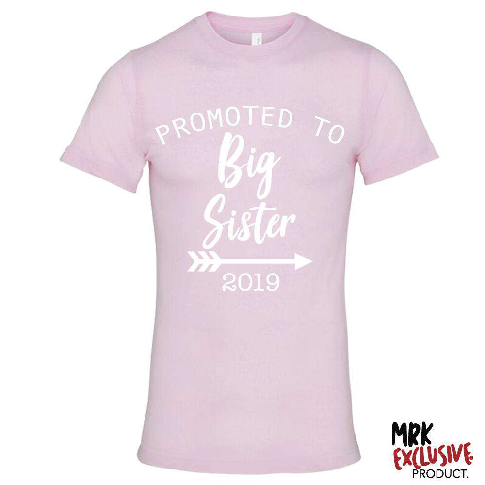 Promoted to Big Sis 2019 Light Pink Tee (MRK X)